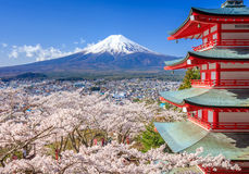 Mt. Fuji with Chureito Pagoda, Fujiyoshida, Japan. Mt. Fuji with Chureito Pagoda in Spring, Fujiyoshida, Japan Stock Photography