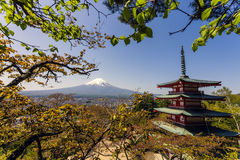 Mt. Fuji and Chureito pagoda in Japan. Mt. Fuji with red Chureito pagoda in Fujiyoshida, Japan Stock Photos