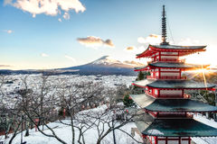 Mt. Fuji with Chureito Pagoda at sunrise in autumn, Fujiyoshida, Royalty Free Stock Photos