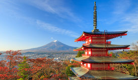 Mt. Fuji with Chureito Pagoda at sunrise, Fujiyoshida, Japan. Mt. Fuji with Chureito Pagoda at sunrise in autumn, Fujiyoshida, Japan Stock Photos