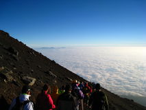 Mt. Fuji Climb. Crowds descending from the peak of Mt. Fuji in Japan Royalty Free Stock Photos