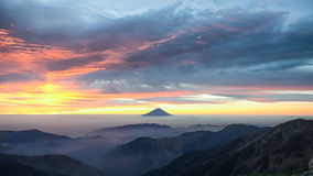 Mt.Fuji and the dawn sky before sunrise Stock Photos