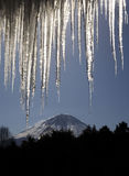 Mt fuji dg-18. The viwe Mt, fuji under the iceicles Royalty Free Stock Image