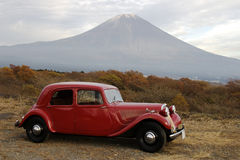 Mt fuji-dg 46. Great Mt. Fuji and an old classic car Stock Photography