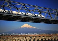 Mt fuji-dg 56. The Shinkansen runs over Mt,Fuji peak Royalty Free Stock Photo