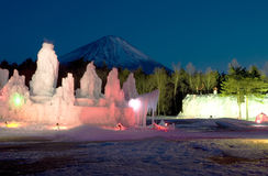 Mt fuji dg-64. The ice plastic arts with night Mt,Fuji view Royalty Free Stock Photography