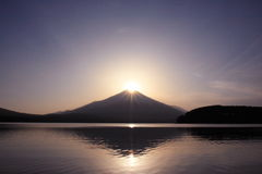 Mt. Fuji with Diamond crown. This is the sceen of sunset. The Sun goes down over the top of Mt. Fuji Stock Images