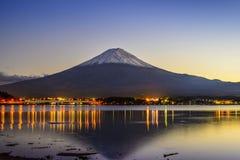 Mt. Fuji at Dusk. Mt. Fuji, Japan viewed from Lake Kawaguchi at dusk Stock Photography