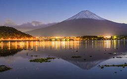 Mt. Fuji. At dusk over Kawaguchi Lake stock photography