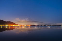 Mt Fuji in the early morning with reflection on the lake kawaguchiko royalty free stock photo