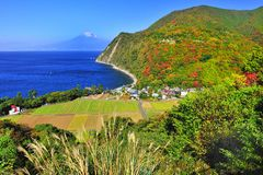 MT Fuji en landelijke scape Stock Afbeeldingen