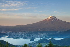 MT Fuji en meerkawaguchiko Royalty-vrije Stock Foto