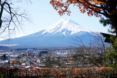 Mt. Fuji with fall colors in Japan. Royalty Free Stock Images