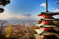 Mt. Fuji with fall colors in Japan. Stock Images