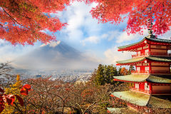 Mt. Fuji with fall colors in Japan. Royalty Free Stock Photos