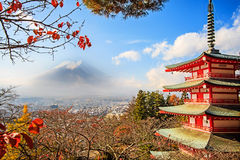 Mt. Fuji with fall colors in Japan. Royalty Free Stock Photo