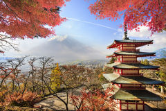 Mt. Fuji with fall colors in Japan. Stock Photography