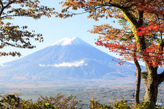 Mt. Fuji with fall colors in Japan Royalty Free Stock Photos
