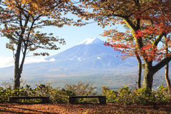Mt. Fuji with fall colors in Japan Stock Photo