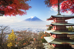 Mt. Fuji with fall colors in Japan. Stock Photo