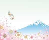 Mt. Fuji and Flying Butterflies -EPS10. Mt. Fuji and Flying Butterflies, Japanese traditional spring image. This illustration contains Transparency Effect vector illustration