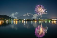 Mt Fuji Fullmoon Fireworks royalty free stock images