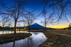 Mt. Fuji from Fumotopara camping ground Stock Photo