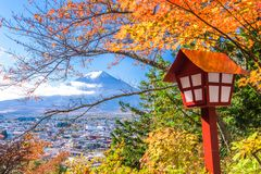 Mt. Fuji, Japan with Fall Foliage. Mt. Fuji, Japan viewed from Arakurayama Sengen Park royalty free stock photography