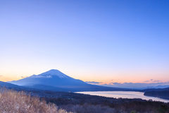 Mt. Fuji, Japan at Lake Kawaguchi. After sunset royalty free stock photo