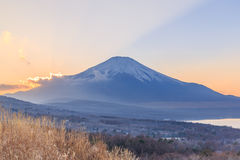 Mt. Fuji, Japan at Lake Kawaguchi. After sunset royalty free stock photos