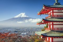Mt. Fuji, Japan. Viewed from Chureito Pagoda in the autumn stock photo
