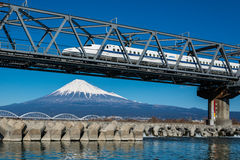Mt. Fuji and Japanese train Stock Photos