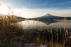 """Mt. Fuji with Kawaguchiko lake. Japan's Mt. Fuji is an active volcano about 100 kilometers southwest of Tokyo. Commonly called """"Fuji-san,"""" it's the Royalty Free Stock Photography"""