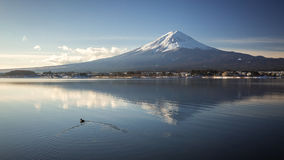 """Mt. Fuji with Kawaguchiko lake. Japan's Mt. Fuji is an active volcano about 100 kilometers southwest of Tokyo. Commonly called """"Fuji-san,"""" it's the Royalty Free Stock Photos"""