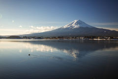 """Mt. Fuji with Kawaguchiko lake. Japan's Mt. Fuji is an active volcano about 100 kilometers southwest of Tokyo. Commonly called """"Fuji-san,"""" it's the Royalty Free Stock Image"""