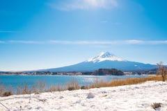 Mt Fuji from Kawaguchiko lake in Winter Stock Photo