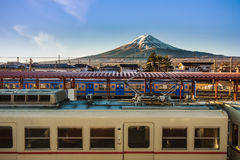 Mt. Fuji from Kawaguchiko Station Royalty Free Stock Photography