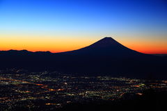 Mt. Fuji and Kofu city at dawn Stock Photo