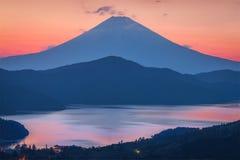 Mt. Fuji. Mt.Fuji and Lake Ashi with beautiful evening sky in spring season. the lake with Mount Fuji in the background is the symbol of Hakone , Kanagawa stock image