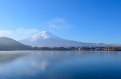 Mt.Fuji and Lake Kawaguchi. Lake Kawaguchi is one of the Fuji Five Lakes. The best views of Mount Fuji can be enjoyed from the lake's northern shores. This view stock photo