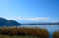 Mt.Fuji and Lake Kawaguchi. Lake Kawaguchi is one of the Fuji Five Lakes. The best views of Mount Fuji can be enjoyed from the lake's northern shores. This view royalty free stock photos