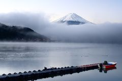 Mt. Fuji and Lake Kawaguchi Royalty Free Stock Photos