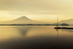 Mt. Fuji at Lake Kawaguchi during sunrise in Japan. Mt. Fuji is famous mountain in Japan stock photo