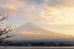 Mt. Fuji and Lake Kawaguchi in sunset at Yamanashi, japan stock image