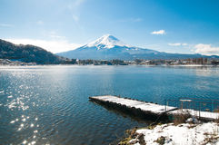Mt Fuji on the lake kawaguchiko Royalty Free Stock Photo