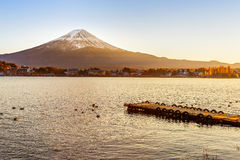 Mt. Fuji at lake Kawaguchiko Stock Photos