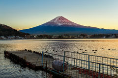 Mt. Fuji at lake Kawaguchiko Stock Photo