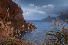 Mt.Fuji and Lake Motosuko. Mt.Fuji was covered with cloud  view from Lake Motosuko Royalty Free Stock Images