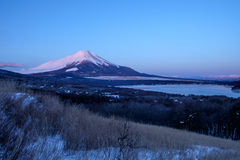 Mt. Fuji and Lake Yamanaka at sunrise Royalty Free Stock Image