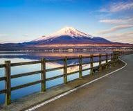 Mt.Fuji with Lake Yamanaka, Yamanashi, Japan. Road to Mt.Fuji with Lake Yamanaka, Yamanashi, Japan Stock Images